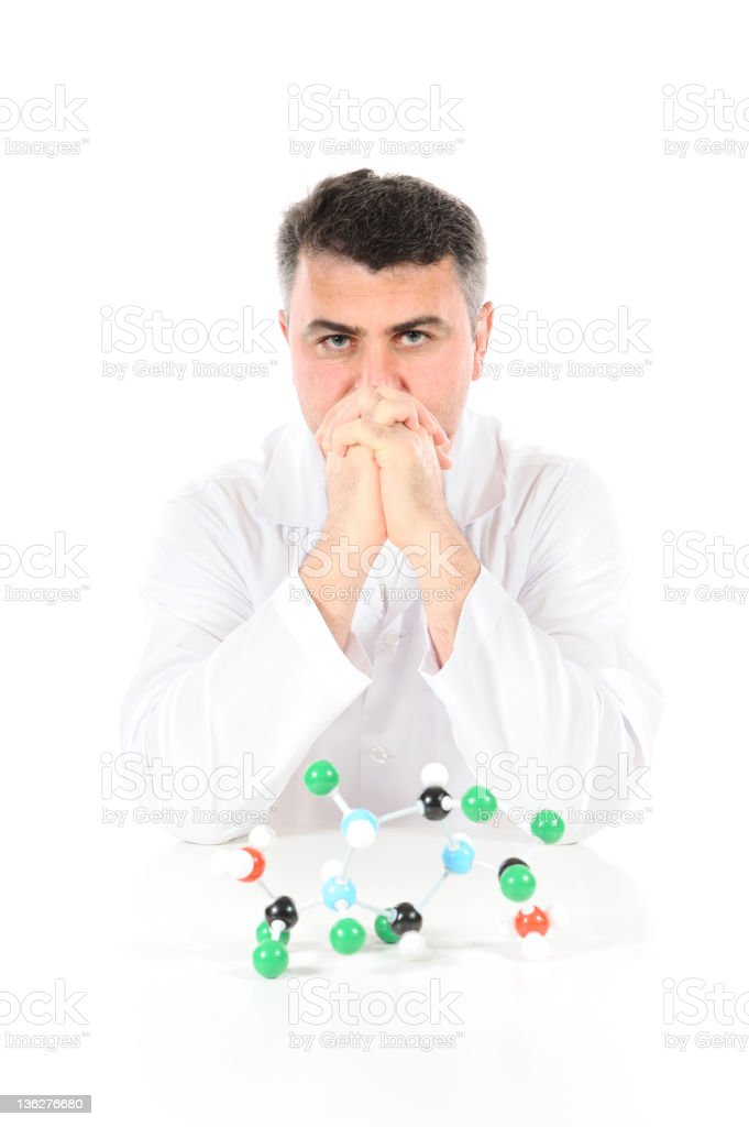 Pensive scientist and molecular structure royalty-free stock photo