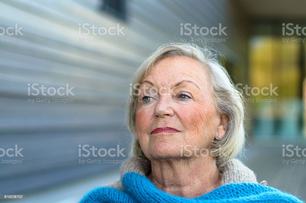 Pensive senior lady with a speculative expression stock photo