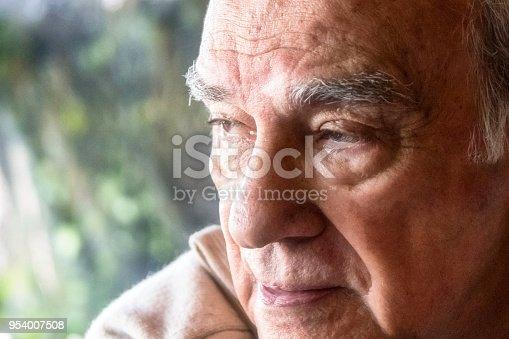 Pensive hispanic senior man looking away