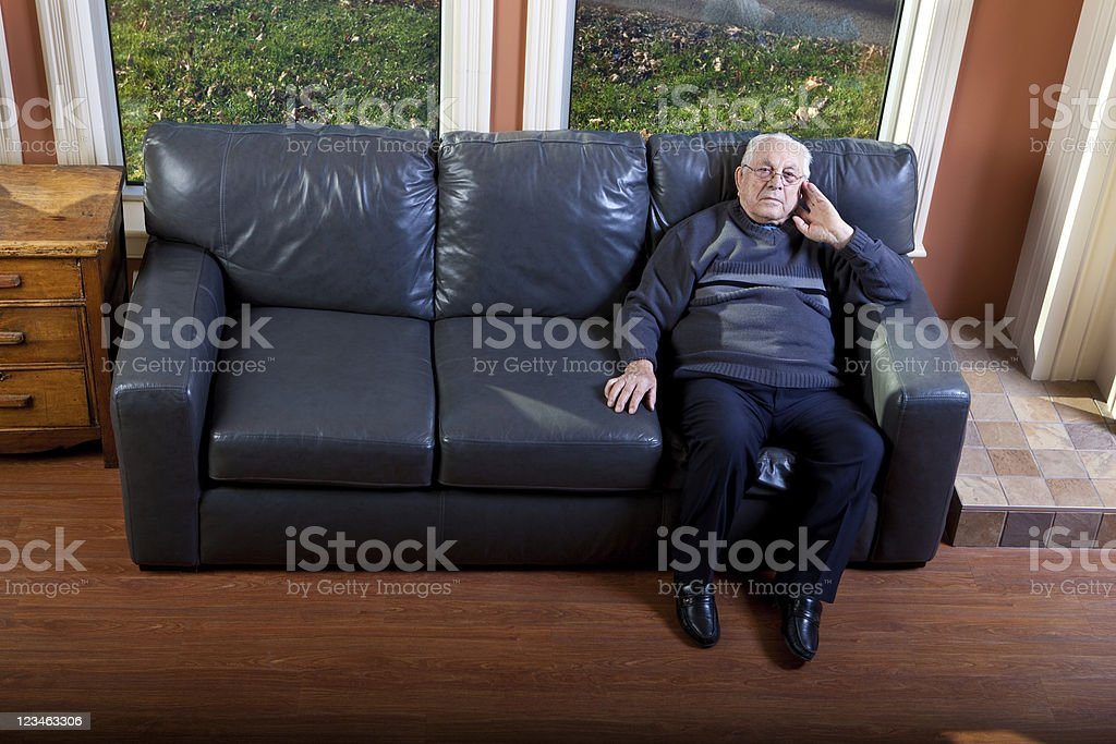 Pensive Senior Man stock photo