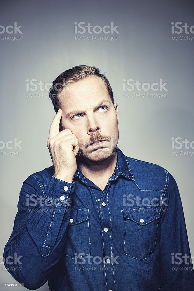 Pensive serious man royalty-free stock photo