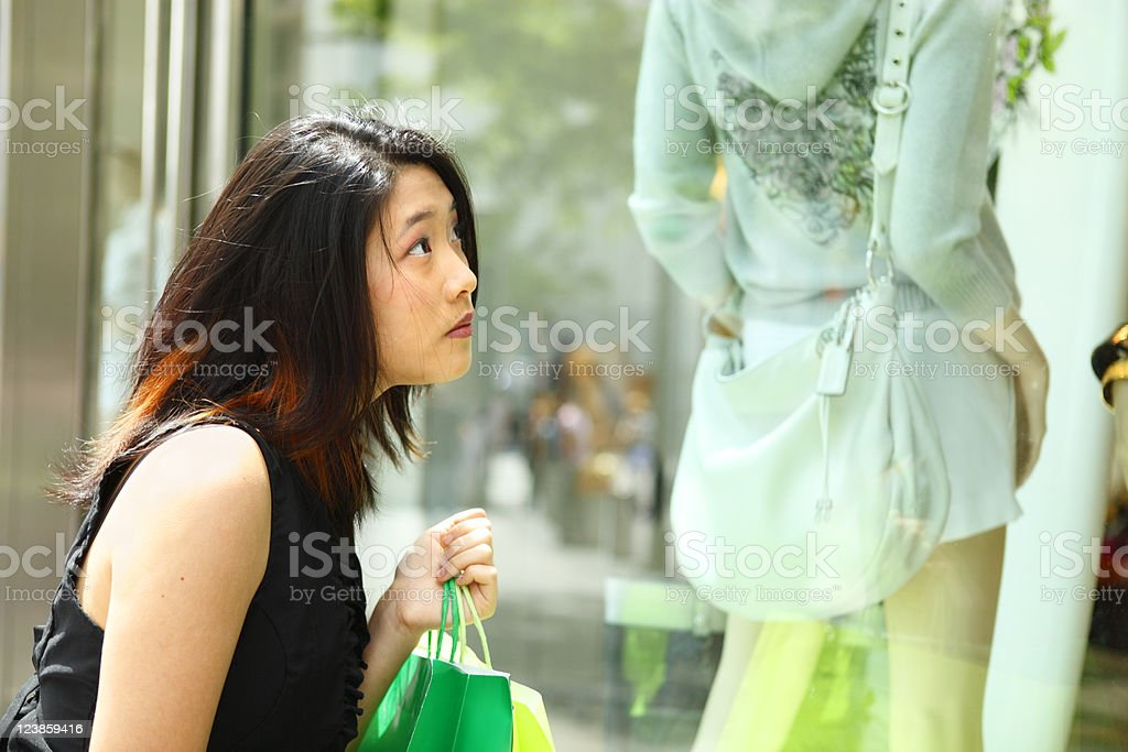 Pensive Shopper stock photo