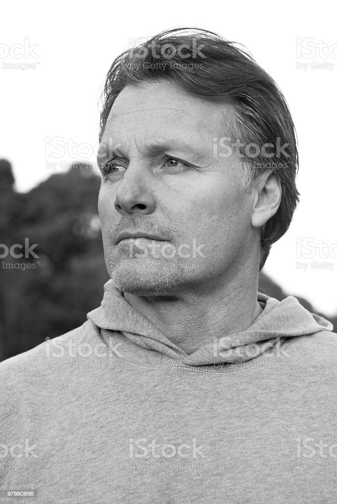 pensive sportsman royalty-free stock photo