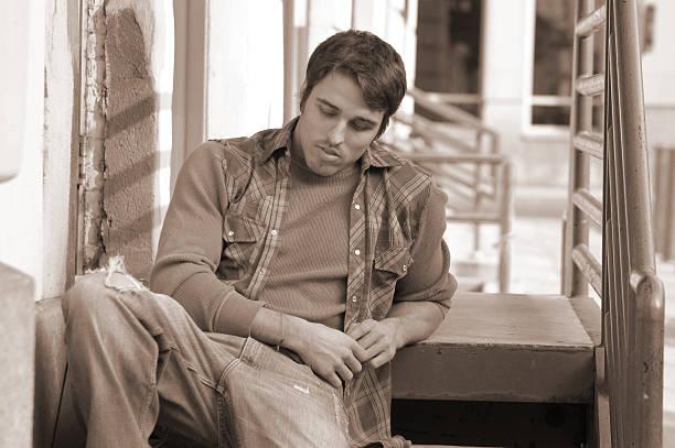 Pensive student stock photo