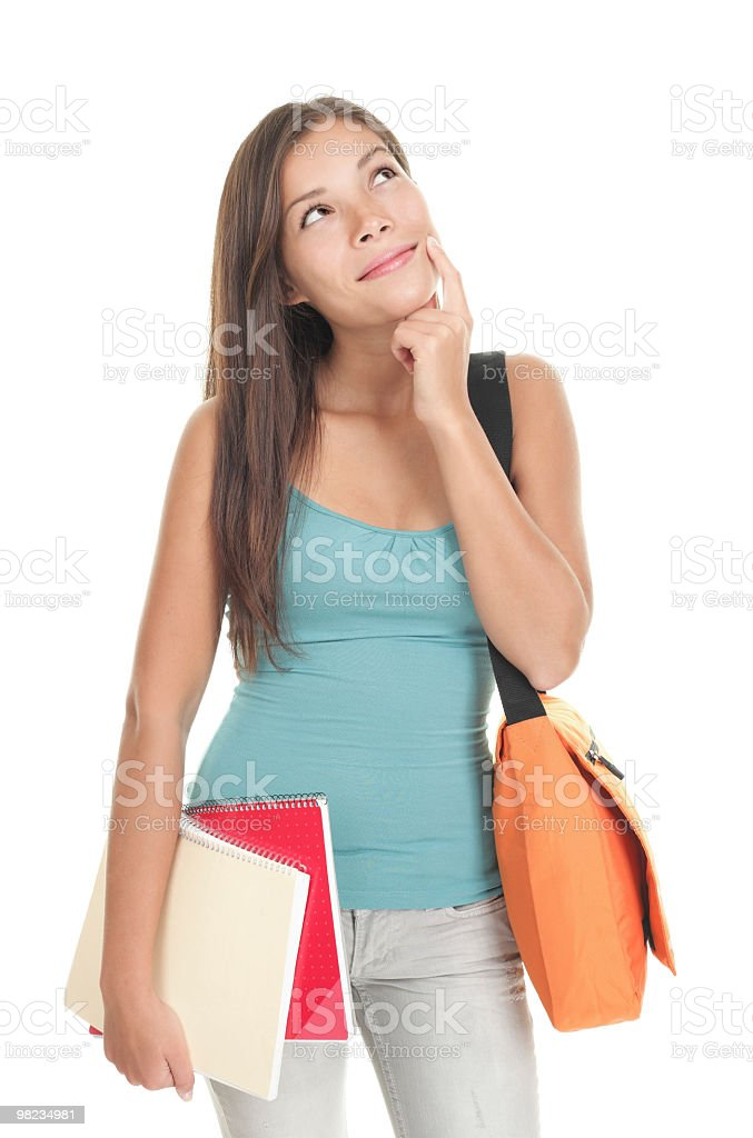 Pensive student woman royalty-free stock photo