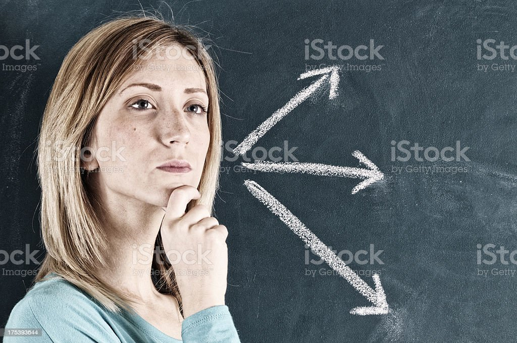 Pensive Woman and Arrow Signs.Copy Space. royalty-free stock photo