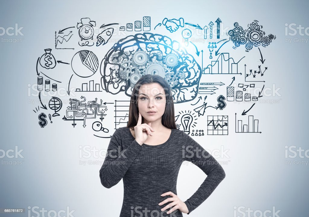 Pensive woman and business thinking foto stock royalty-free