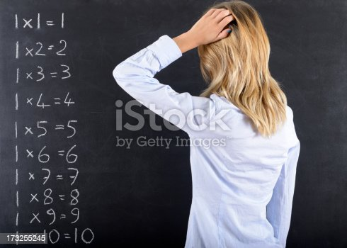 istock Pensive Woman and Calculus 173255245