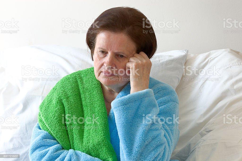 Pensive woman stock photo