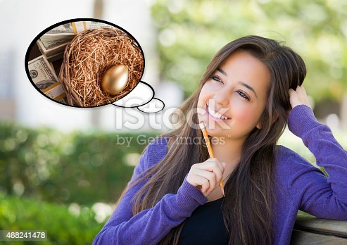 481974106istockphoto Pensive Woman with Money and Nest Egg Thought Bubble 468241478