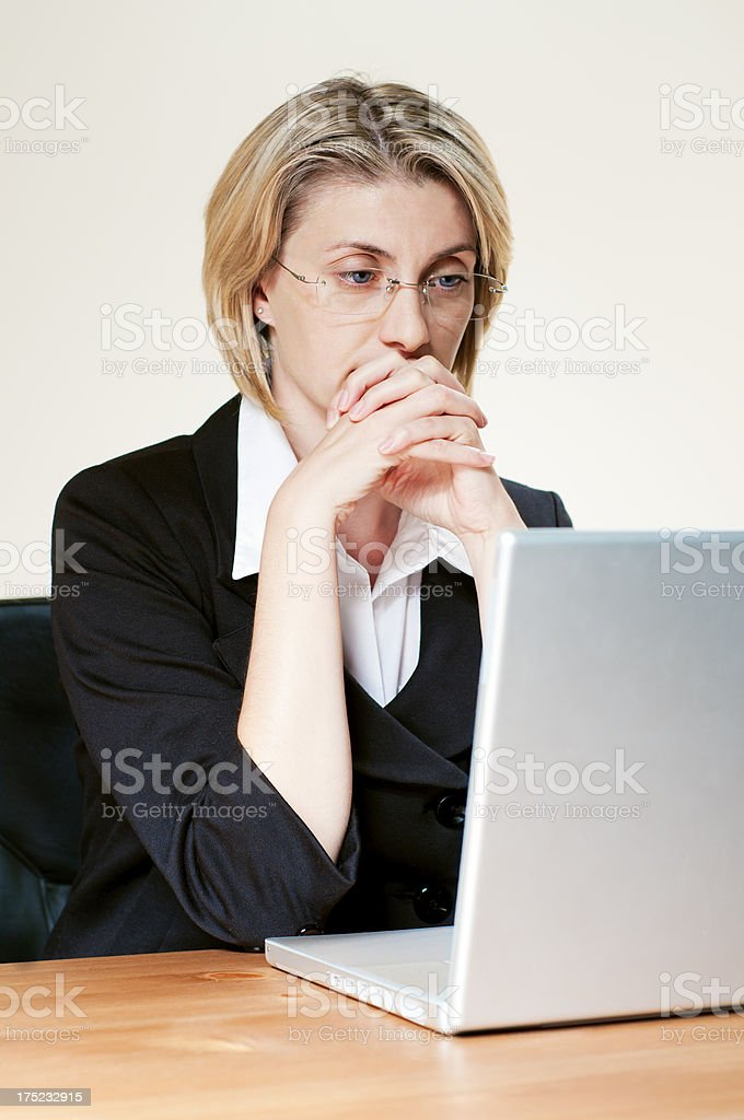 Pensive working woman royalty-free stock photo