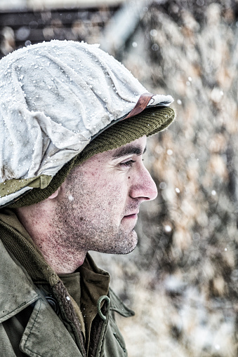 Pensive Wwii Us Army Soldier Winter Portrait Stock Photo