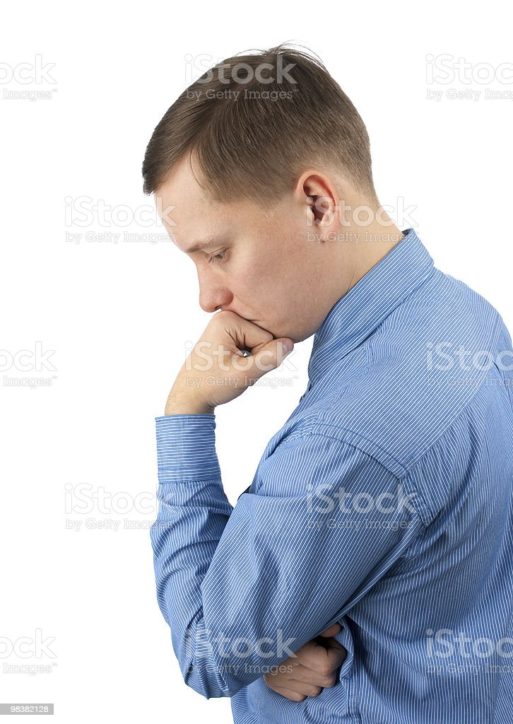 Pensive young business man royalty-free stock photo
