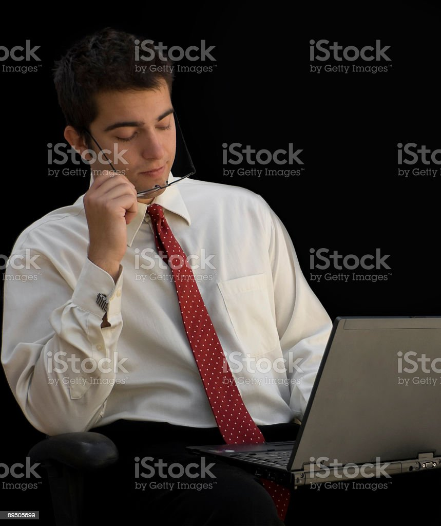 Pensive, young businessman royalty-free stock photo