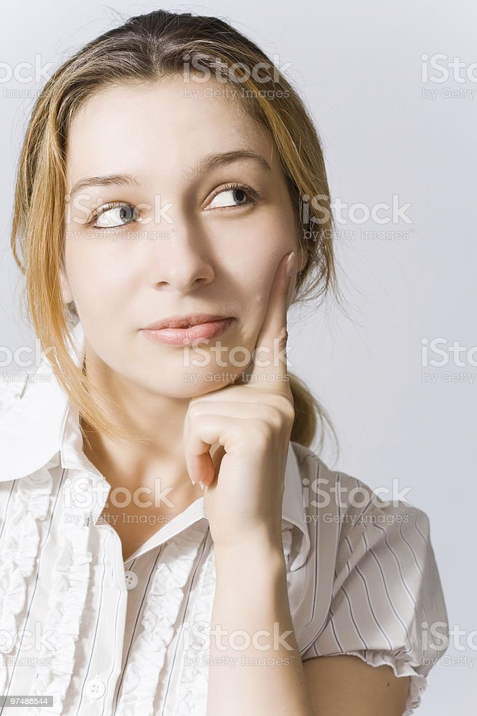 Pensive young woman royalty-free stock photo
