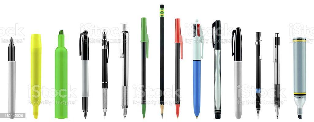Bolígrafos, lápices, diversos colores - foto de stock
