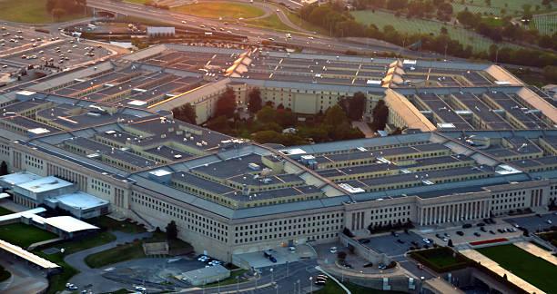 US Pentagon at sunset stock photo