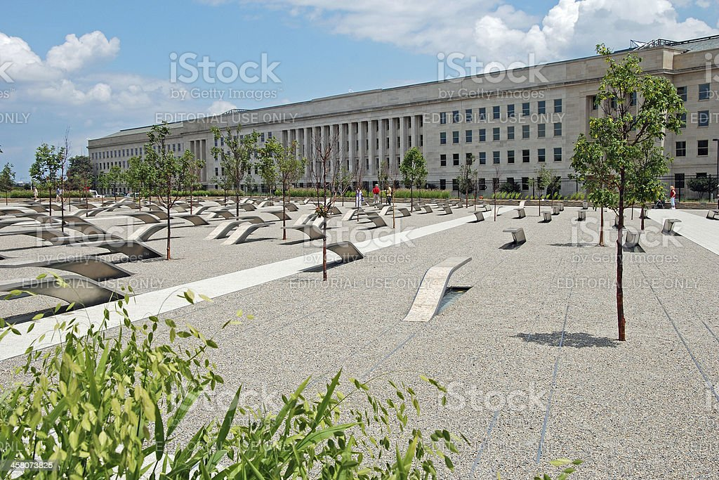Pentagon memorial in Washington DC stock photo
