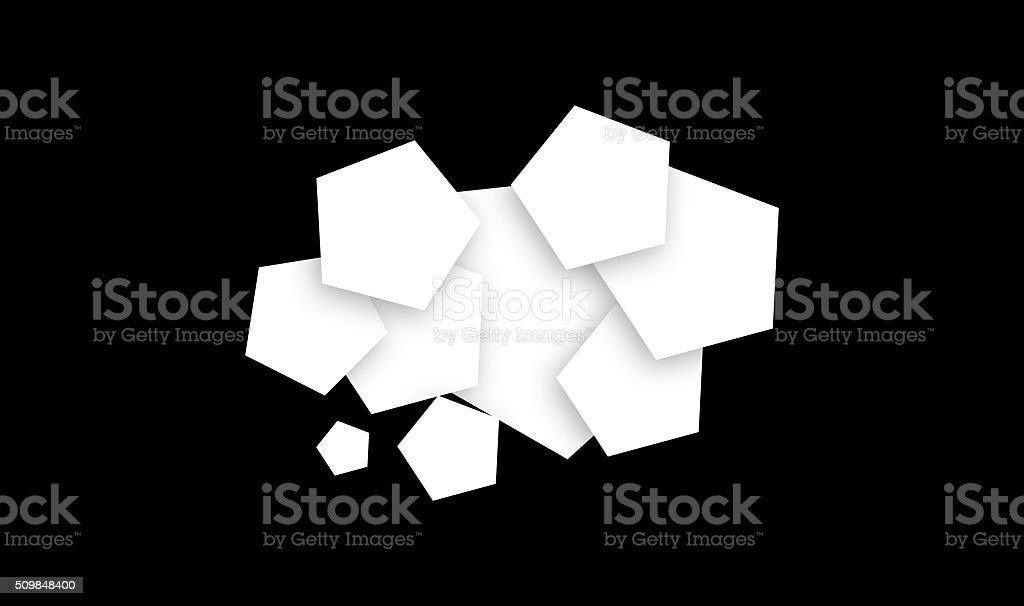 pentagon shape cloud design soft shadow on black stock photo