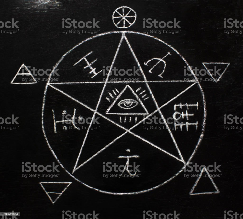 pentagram on the blackboard stock photo