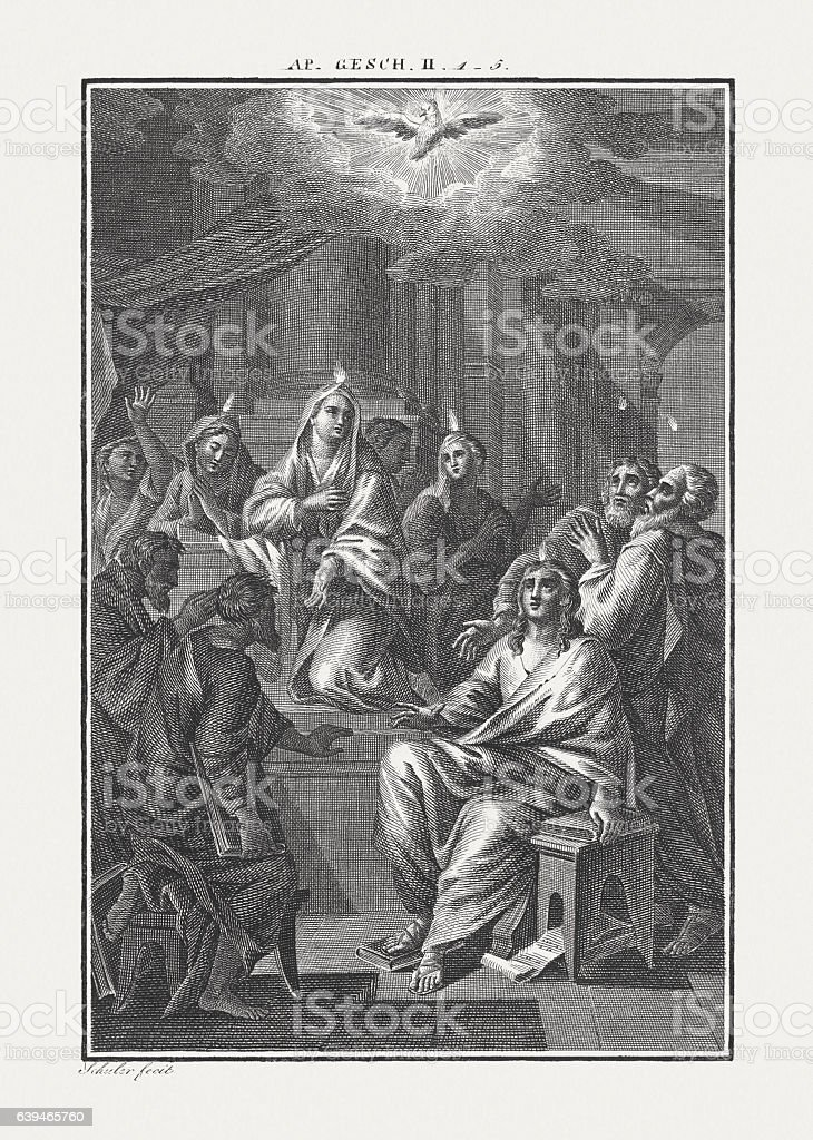Pentecost (Acts 2, 1 - 4), copper engraving, published c.1850 stock photo
