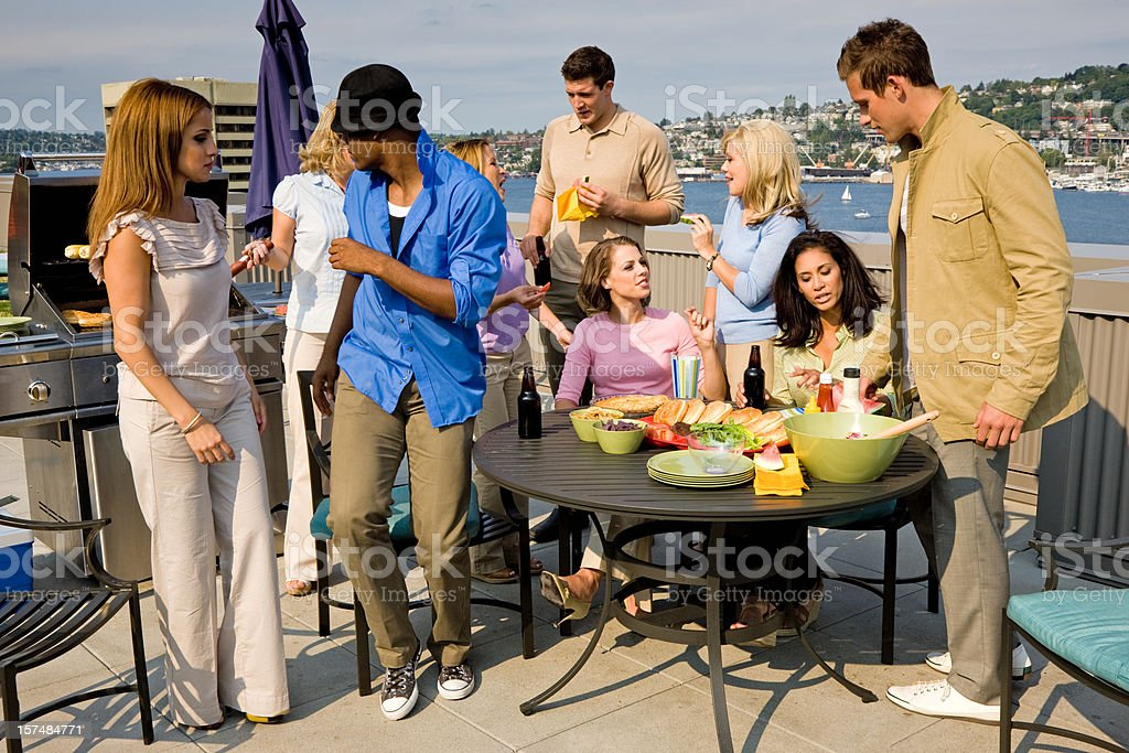 Penthouse Roofgarden Summer BBQ Party royalty-free stock photo