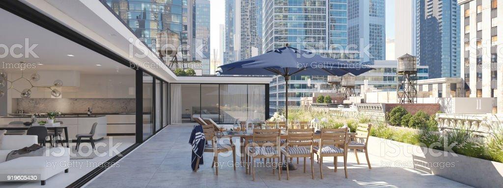 terraço de cobertura em uma cidade grande. renderização 3D - foto de acervo