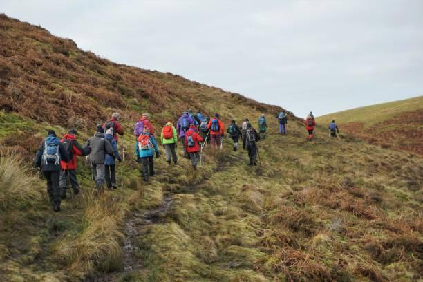 Pentland Hills Hiking group stock photo