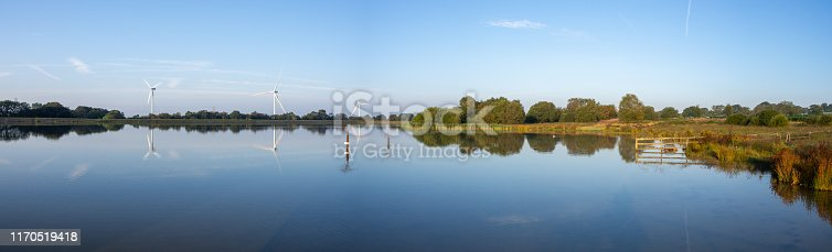Pen-y-fan pond in Blackwood, Wales UK which has 3 wind turbines nearby