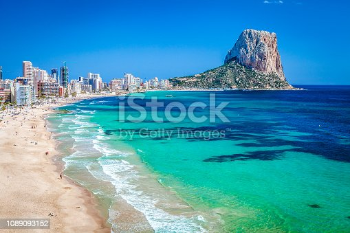 Calpe beach with Peñon de Ifach at background. Comunidad Autonoma de Valencia, Spain. Copy space available for text and/or logo. DSRL outdoors photo taken with Canon EOS 5D Mk II and Canon EF 17-40mm f/4L IS USM Wide Angle Zoom Lens