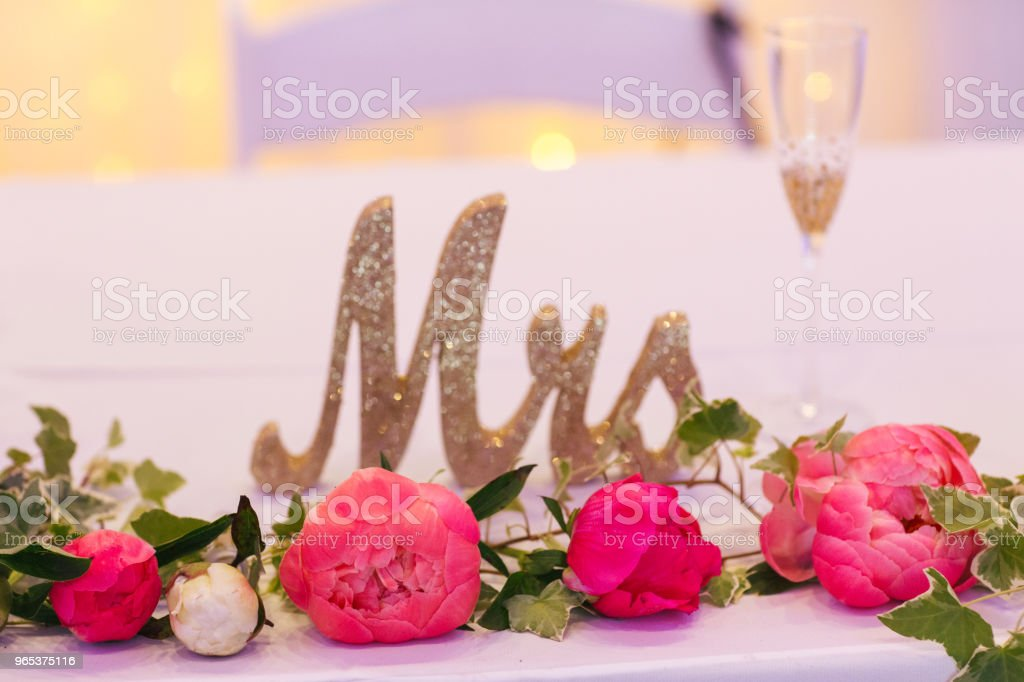 Peoni flowers my Mrs sign on wedding day zbiór zdjęć royalty-free