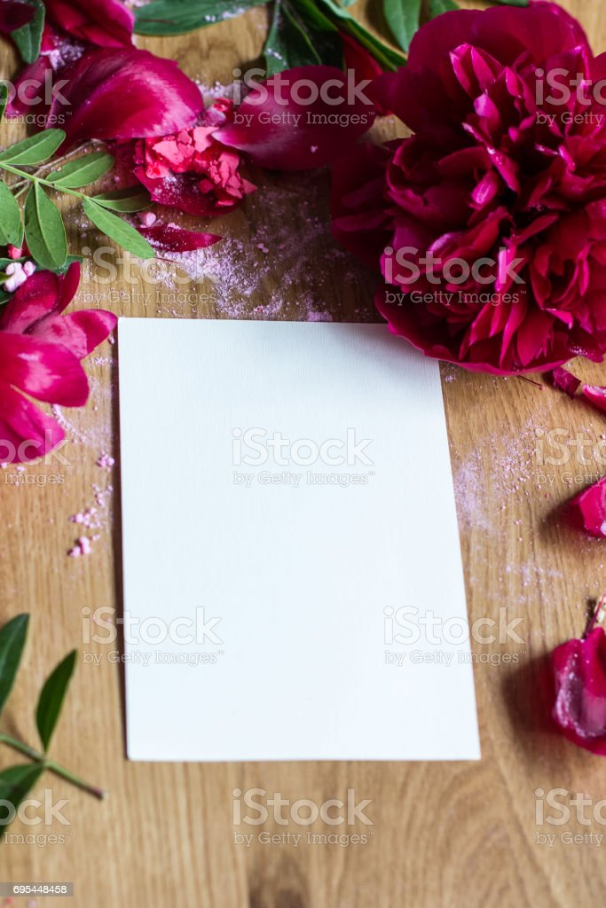 Peonies and card stock photo