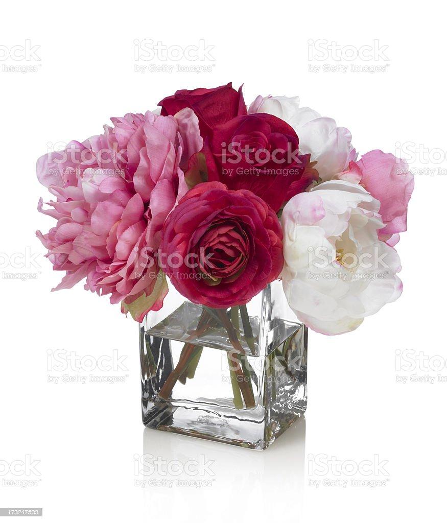 Pivoine et bouquet de roses sur fond blanc - Photo