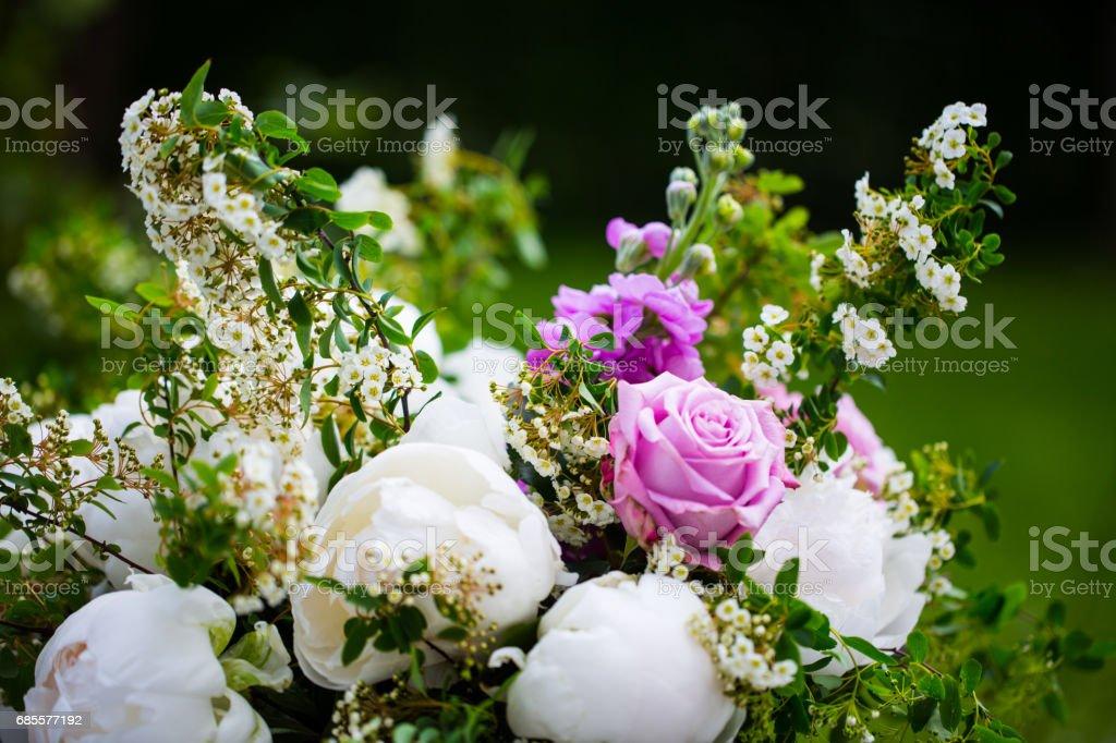 작 약 부케, 핑크와 화이트 모란 royalty-free 스톡 사진