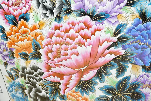 Céramique Pivoine fleurs dans un vase - Photo