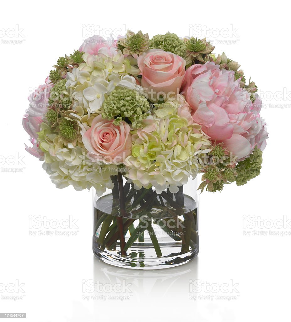 Peony, Hydrangea and Rose bouquet on a white background stock photo