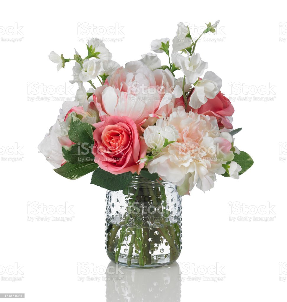 Peony, rose and sweetpea bouquet on a white background stock photo