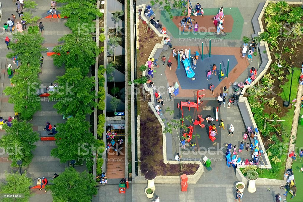 People activity in city park stock photo
