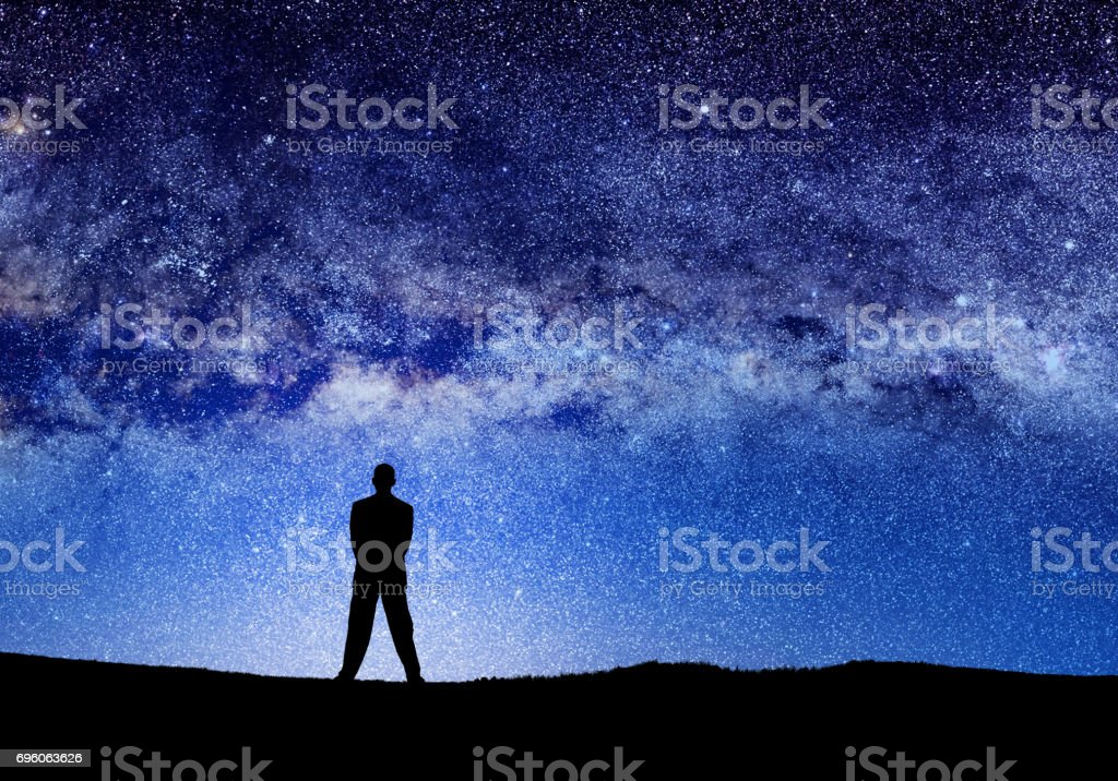 people and abstract universe stock photo