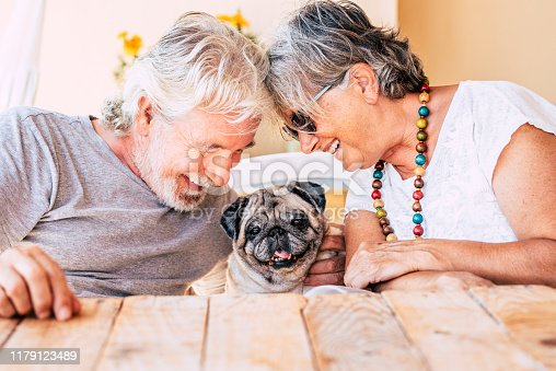 People and dog concept with couple of happy couple of senior mature man and woman smiling and having fun with their little puppy pug  - concept of animal therapy and happiness