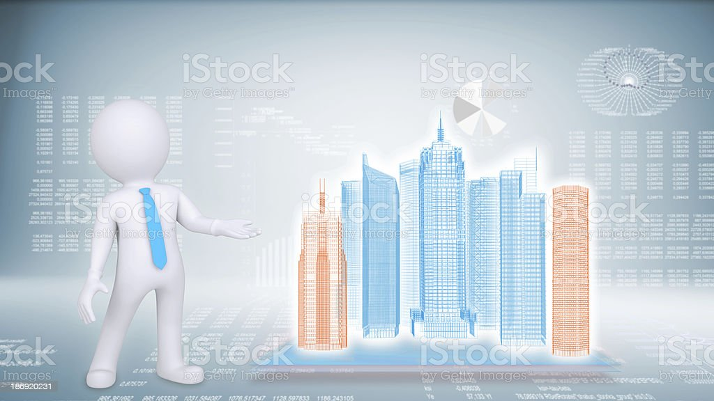 People and hi-tech building on a blue background royalty-free stock photo