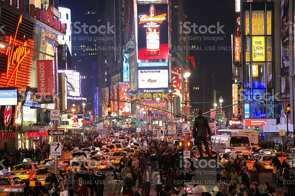 People And Lights At Night Time Square New York City Stock Photo Download Image Now Istock