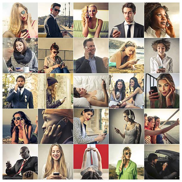 menschen und mobiltelefone - geräusche app stock-fotos und bilder
