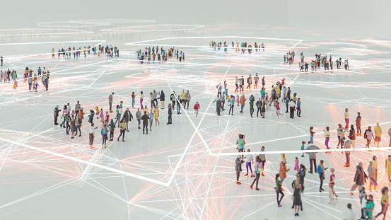 People And Modern Technology Connection — стоковые фотографии и другие картинки Абстрактный