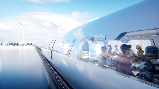 People and robots. Sci fi station. Futuristic monorail transport. Concept of future. 3d rendering. stock photo