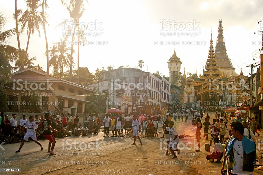 People and street life in Yangon, Myanmar stock photo