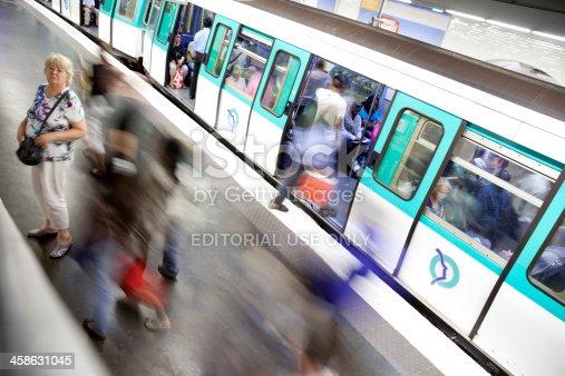 Paris, France - July, 17th 2010: People boarding train at Gare de l'Est metro station