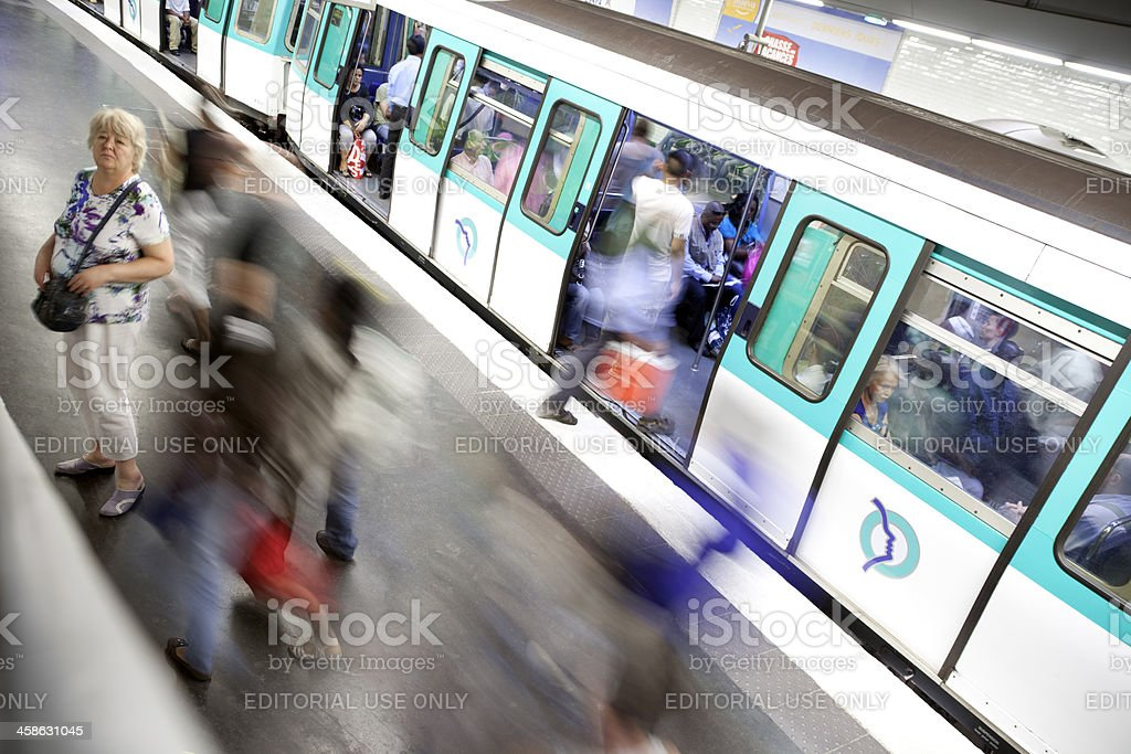 People and Train at Gare de l'Est Metro Station, Paris stock photo