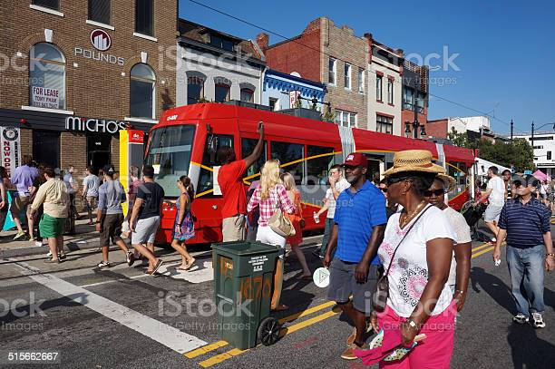 People And Trolley Car Stock Photo - Download Image Now