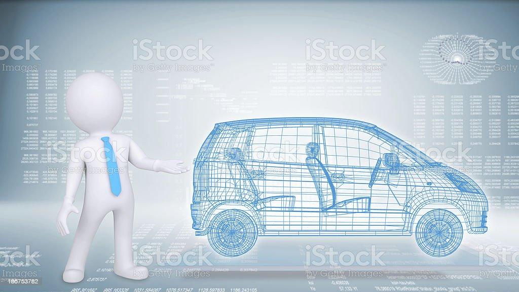 Menschen Und Drahtmodell Auto Auf Einem Blauen Hintergrundhitech ...